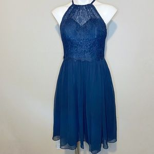 Azazie Navy Blue Knee Length Bridesmaid Dress
